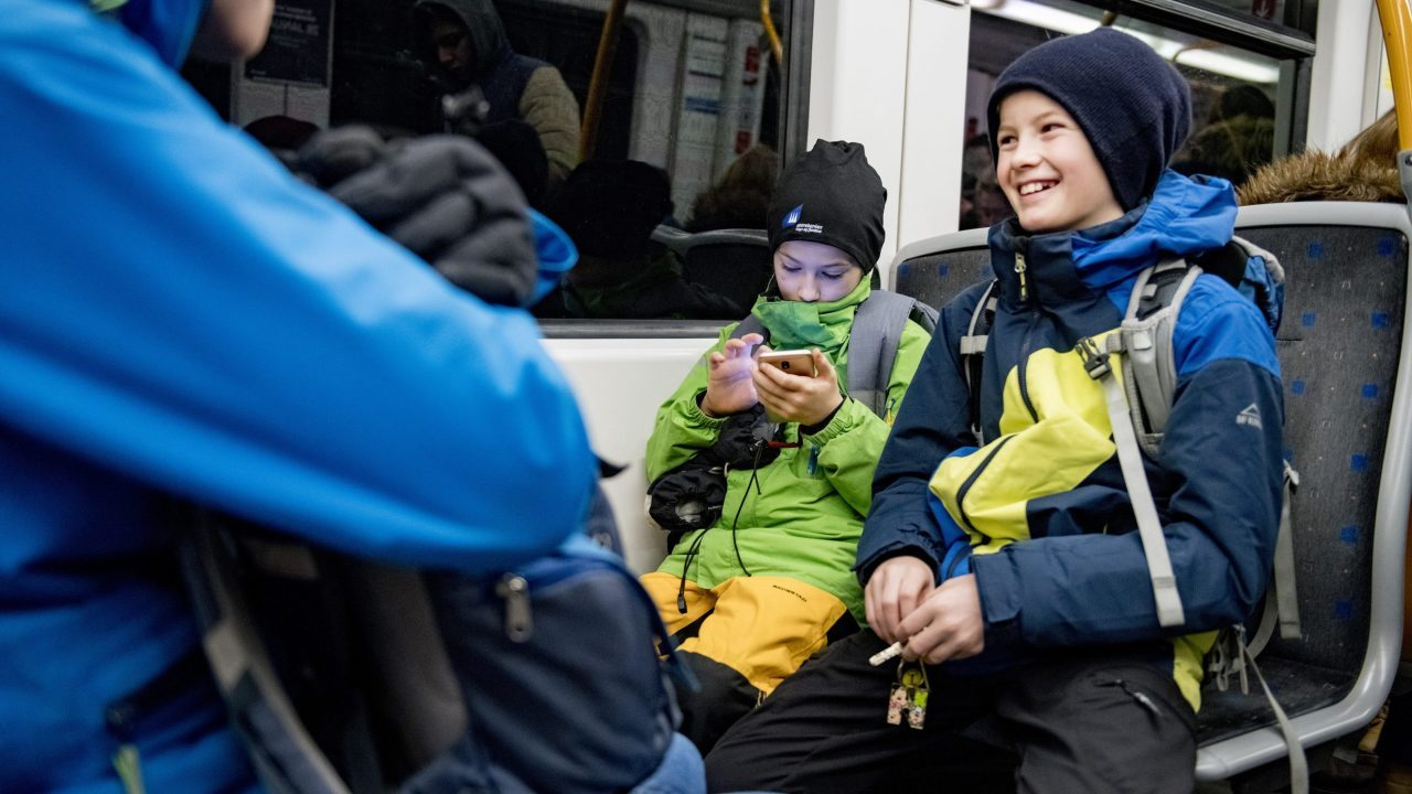 Nils (12) takes the subway to school each day.